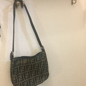 Fendi zucca Monogram canvas shoulder bag