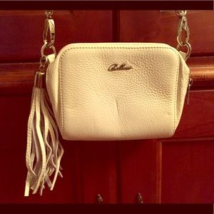 Bellucci Pebbled White Leather Cross Body bag
