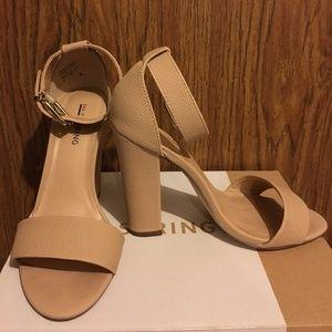 Call it Spring Arther Block Heel Nude Sandals