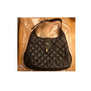 BURBERRY Leather Quilted Brook Hobo Black Bag NWT