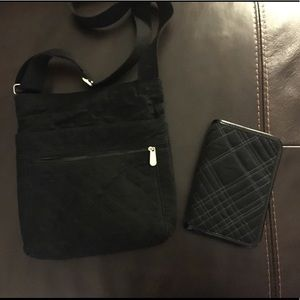 Thirty-one black quilted cross body and wallet