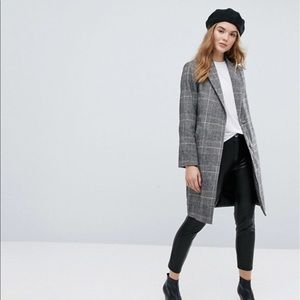 Asos Brown Plaid Coat NWT