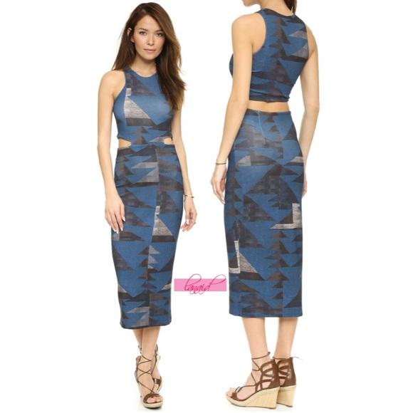 Mara Hoffman Dresses Ponte Cutout Midi Dress Loom Blue Xs Poshmark