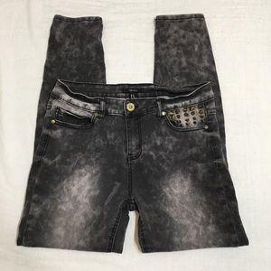 High Rise Studded Acid Wash Skinny Jeans