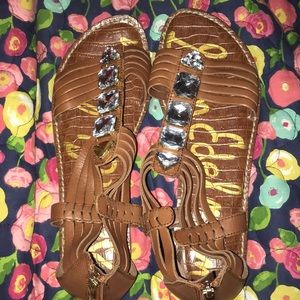 Sam Edelman Jeweled Sandals Brown Leather Strappy