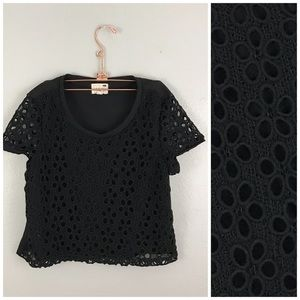LA Hearts Black Eyelet Floral T Crop Top Blouse