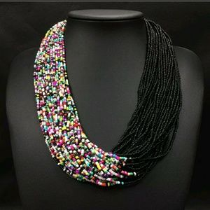 Seed bead beautiful necklace black