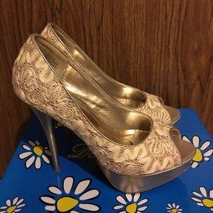 Nude Glitter Peep Toe High Heels Size 6