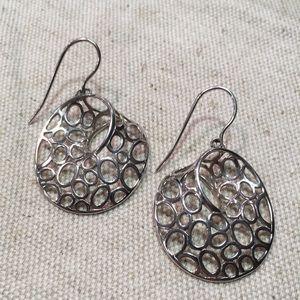 Sterling Dangle Earrings Modern Circle Design