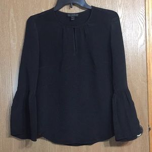 J Crew Black Silk Bell sleeve Blouse