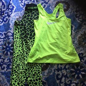 Nike Leggings xs and tank top s , neon colors