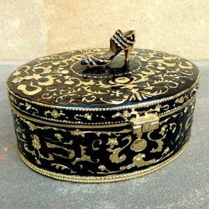 Jewelry Trinket Box Heavy Black Enamel Art