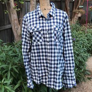 Precious navy blue and white button down shirt