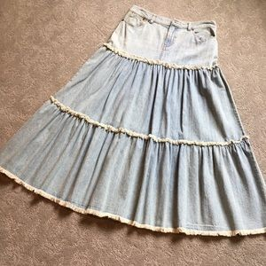 Ralph Lauren Two Tiered Denim Skirt NWOT