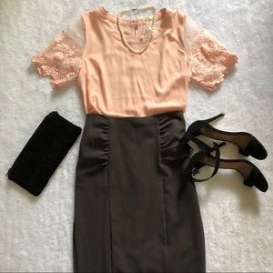 Blush dainty top with lace sleeve