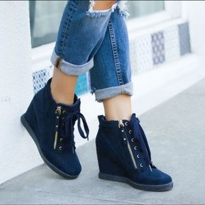 Navy Blue Wedge Sneakers