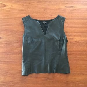 Leather fitted sleeveless top