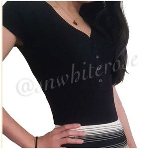 Anya Black Short Sleeve Bodysuit