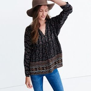Madewell silk bohème popover top burnished floral