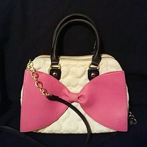 Betsey Johnson Heart Quilted/Bow Handbag