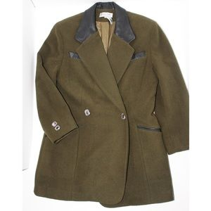 Luciano Zaffiro Wool Double Breasted Olive Blazer