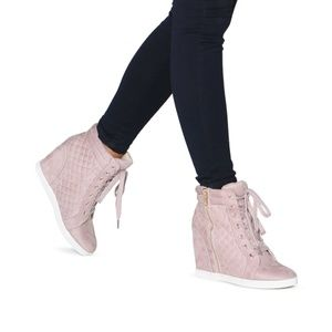 Blush - Rose Wedge Faux Leather Sneakers