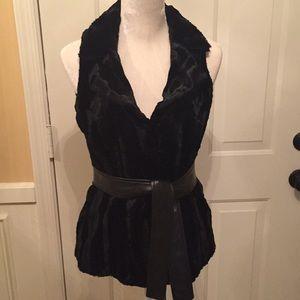 INC Sleeveless faux fur vest