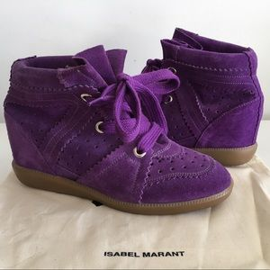 ISABEL MARANT BOBBY PURPLE SUEDE LEATHER SNEAKERS