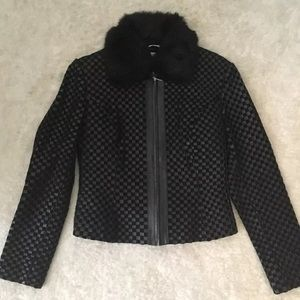 Marvin Richards woven leather fur jacket small