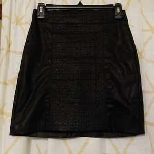 Zara Faux Leather Skirt, Black, Mini
