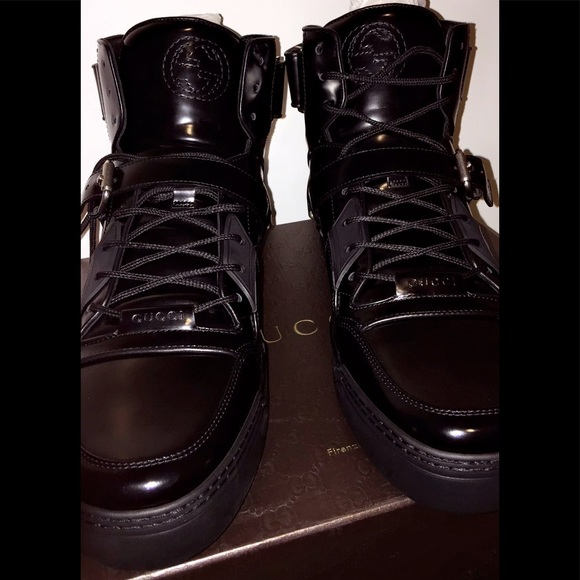57cdd191cd6 Gucci Other - Gucci Black Leather High Top Shoes