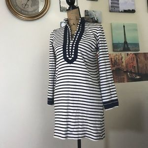 Tory Burch navy and white stripe sheath, Sz. S