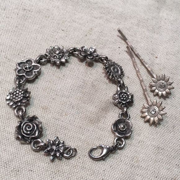 Contemo Casuals Jewelry - Silver Floral Bracelet and Bobby Pins