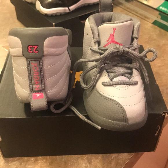 66cf557075e0f5 Toddler Jordan 12 Retro GT Wolf Grey Vivid pink