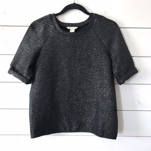 H&M Black Silver Metallic Raglan Sleeve Emboss Top