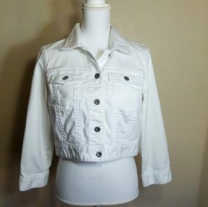 Chico's Platinum Denim Jacket White Size 1