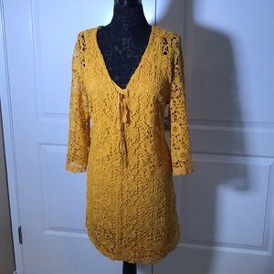 Lane Bryant Yellow Lace dress lined size 14/16