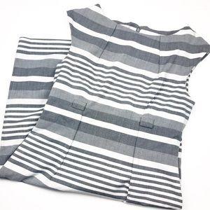 Calvin Klein Grey & White Striped Career Dress.