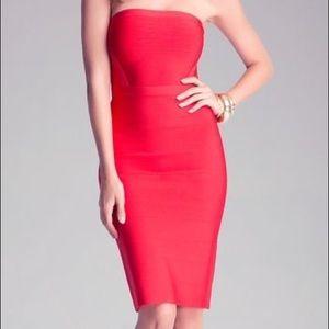 Bebe Red Strapless Bandage Cocktail Dress