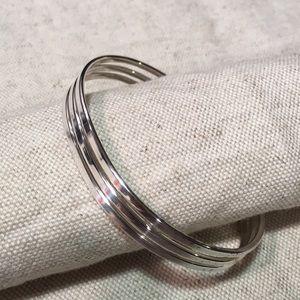 "Premier Designs ""Cuff Em"" Silvertone Bracelet"
