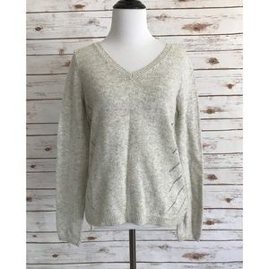 Anthropologie Moth gray knit tie back sweater