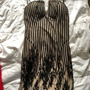 Guess Nude and Black Striped Lace Dress