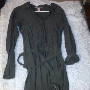Olive colored Long sleeve pant jumpsuit
