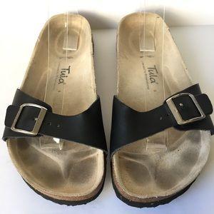 Tula Birkenstock Black Leather Slides Size 10