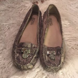 Michael Kors Snakeskin Loafers with MK Buckle