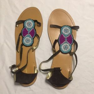 Tribal Beaded Sandals