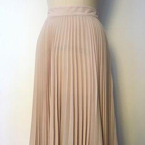 Pleated long silk skirt