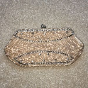 Vintage 1950s Hand-beaded Pearl Evening Clutch Bag