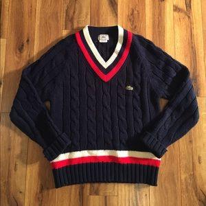 Vintage Lacoste V-Neck Sweater in Navy