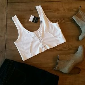 New Topshop White Lace Up Bralette